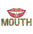 word mouth with silhouette of lips vector image