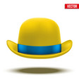 Yellow bowler hat on a white background vector image vector image