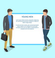 young men wearing casual clothing vector image vector image