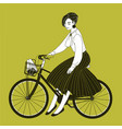 young woman dressed in elegant clothes riding city vector image