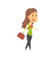 businesswoman character in formal wear walking vector image