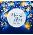 Christmas card Paper snowflakes on blue vector image
