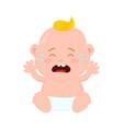 sad crying little baby child boy vector image