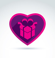 a purple gift box sign placed in a heart vector image vector image