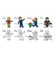 abc professions coloring book set english alphabet vector image