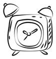 alarm clock sketch on white background vector image