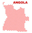 angola map - mosaic of lovely hearts vector image vector image