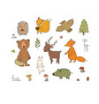 animals of the forest set with cute cartoon bears vector image vector image