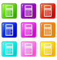 calculator icons set 9 color collection vector image vector image