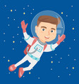 caucasian astronaut kid in suit flying in space vector image