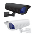 cctv security surveillance camera black and white vector image vector image