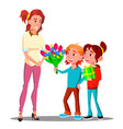children give flowers and gifts to mother vector image