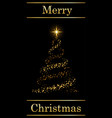 christmas tree card text black background gold vector image vector image