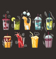 collection drawn drink various tasty sodas vector image