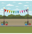 countryside scene with bunting vector image vector image