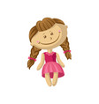 cute smiling soft doll in a pink dress with braids vector image vector image