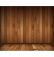 Dark wooden interior room floor and wall vector image vector image
