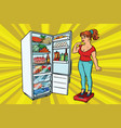 diet young woman on scales stand next to the vector image