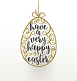 Easter greeting card hanging easter egg with vector image vector image