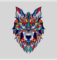 ethnic patterned head wolf front view blue vector image