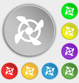 Fan Icon sign Symbol on eight flat buttons vector image vector image