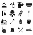 Firefighter black simple icons set vector image vector image