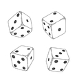 Four white cartoon-style dice cubes vector image vector image