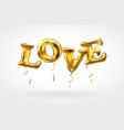 gold letter love balloons heart characters in the vector image