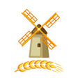 grain mill with ripe wheat ear vector image
