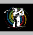 group golf players golfer action cartoon sport vector image