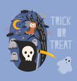halloween banner with grim reaper holding scythe vector image