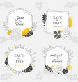 hand drawn yellow floral frame background vector image vector image