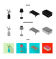 isolated object of bedroom and room symbol set of vector image vector image