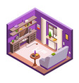 isometric living room interior background vector image vector image