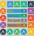 judge hammer icon Set of twenty colored flat round vector image vector image