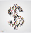 large group of people forming the dollar sign vector image vector image