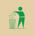man throw rubbish in bin recycle utilization logo vector image vector image