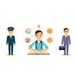 men of different professions set pilot scientist vector image vector image