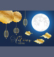 mid autumn festival poster with golden lanterns