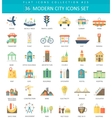 Modern City color flat icon set Elegant vector image vector image