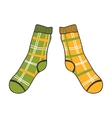 Pair of doodle socks isolated on white background vector image