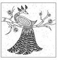 pattern peacock on a branch black and white vector image