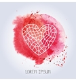 Polygonal linear heart on red watercolor splash vector image vector image