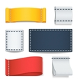 realistic color blank fabric labels badges vector image vector image