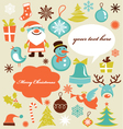 retro christmas design elements vector image vector image