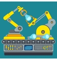 Robotic production line Manufacturing machine vector image vector image