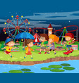scene background design with kids at funfair vector image vector image