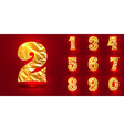 set numbers made foil vector image vector image