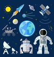 set of flat space icons of planet earth sun moon vector image vector image