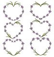 Set of heart of flowers of lavender vector image vector image